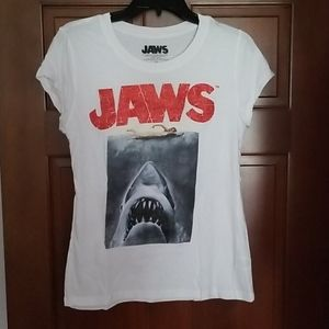 JAWS Shark Red Glitter Crackle Tee Size Large